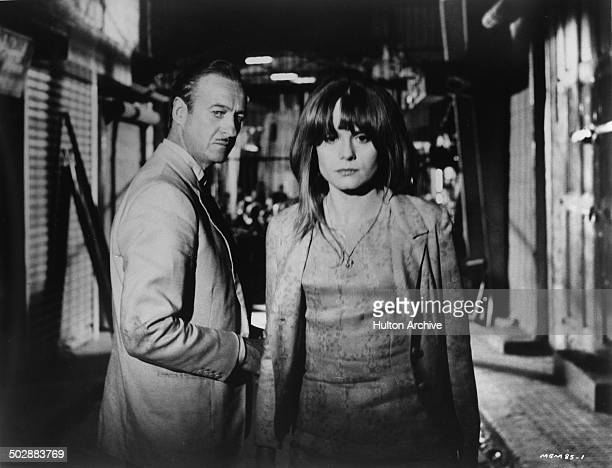 David Niven splits with Francoise Dorleac in a scene from the MGM movie 'Where the Spies Are' circa 1965