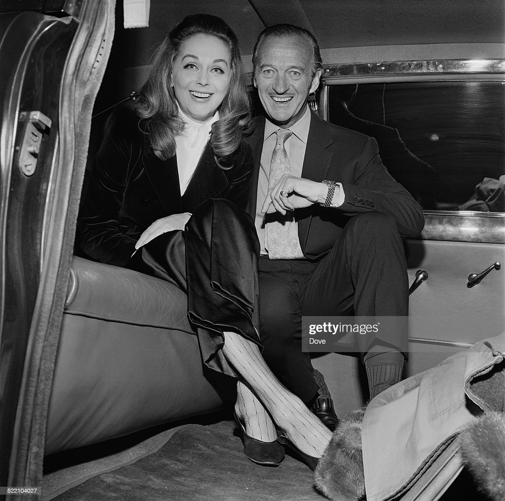<a gi-track='captionPersonalityLinkClicked' href=/galleries/search?phrase=David+Niven&family=editorial&specificpeople=123835 ng-click='$event.stopPropagation()'>David Niven</a> (1910 - 1983) with his wife, Hjördis Paulina Genberg Tersmeden (1919 - 1997) at London Airport, 1969.