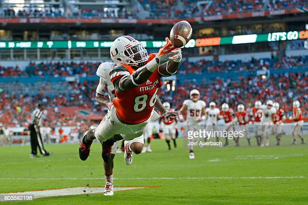 David Njoku of the Miami Hurricanes has the ball go off his fingertip in the end zone against the Florida Atlantic Owls on September 10 2016 at Hard...