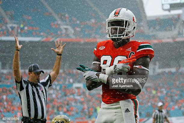David Njoku of the Miami Hurricanes looks up at the fans after scoring a touchdown against the Pittsburgh Panthers on November 5 2016 at Hard Rock...