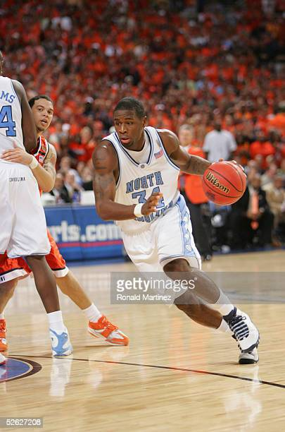 David Noel of the North Carolina Tar Heels drives against the Illinois Fighting Illini during the NCAA Men's National Championship at the Edward...