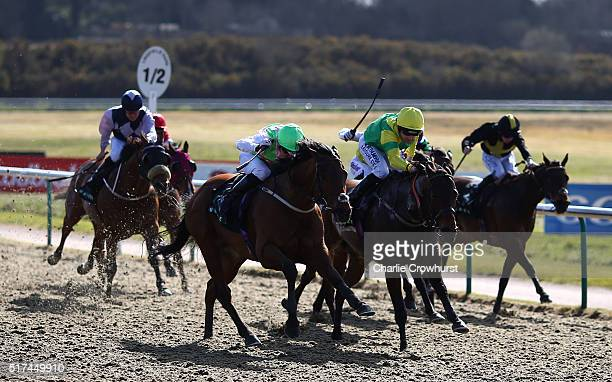 David Nolan rides Alben Star to win The Unibet All Weather Sprint Championships Condition Stakes during the All Weather Championships Finals Day at...