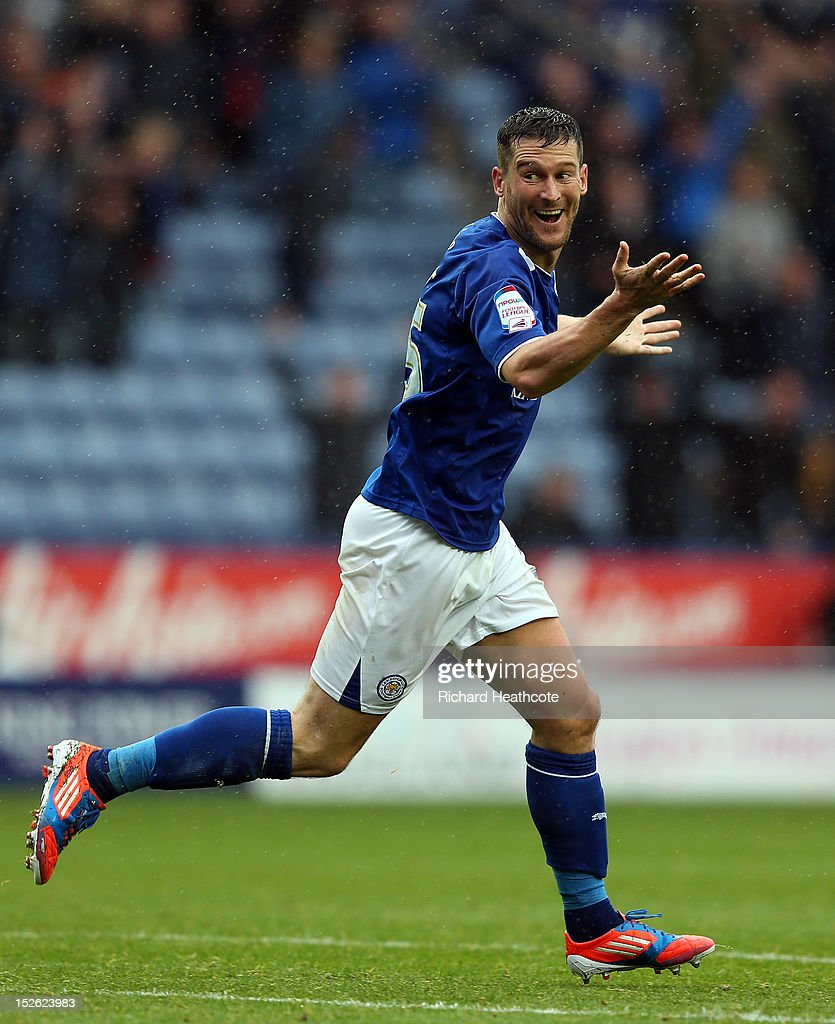 David Nugent of Leicester celebrates scoring the second goal during the npower Championship match between Leicester City and Hull City at The King Power Stadium on September 23, 2012 in Leicester, England.
