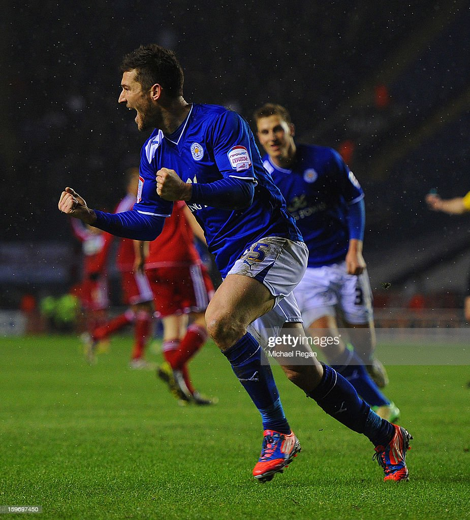 David Nugent of Leicester celebrates scoring to make it 1-0 during the Npower Championship between Leicester City and Middlesbrough at The King Power Stadium on January 18, 2013 in Leicester, England.