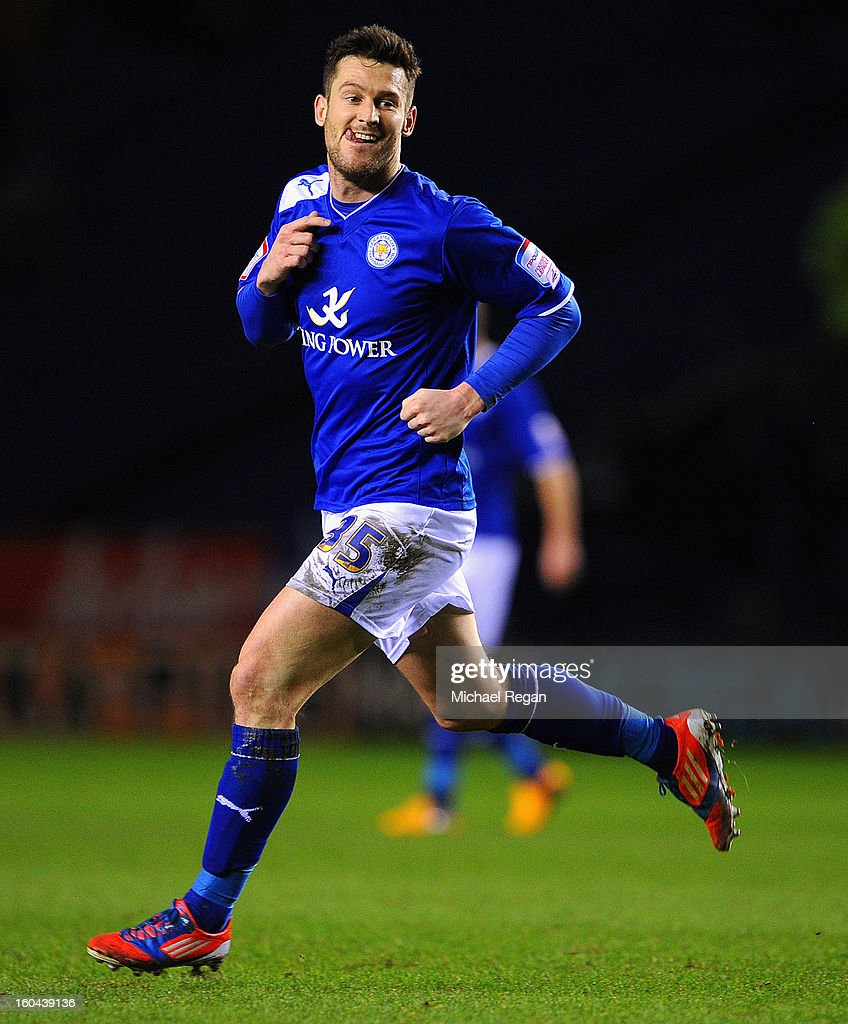 <a gi-track='captionPersonalityLinkClicked' href=/galleries/search?phrase=David+Nugent+-+Soccer+Player&family=editorial&specificpeople=644849 ng-click='$event.stopPropagation()'>David Nugent</a> of Leicester celebrates scoring to make it 2-1 during the npower Championship match between Leicester City and Wolverhampton Wanderers at The King Power Stadium on January 31, 2013 in Leicester, England.