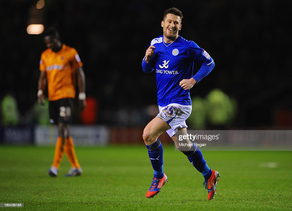 David Nugent of Leicester celebrates scoring to make it 2-1 during the npower Championship match between Leicester City and Wolverhampton Wanderers at The King Power Stadium on January 31, 2013 in Leicester, England.