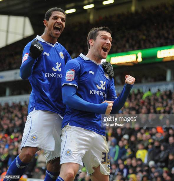 David Nugent of Leicester celebrates scoring to make it 21 with team mate Jermaine Beckford during the FA Cup Fifth Round match between Norwich City...