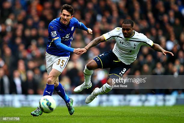 David Nugent of Leicester City battles for the ball with Danny Rose of Spurs during the Barclays Premier League match between Tottenham Hotspur and...