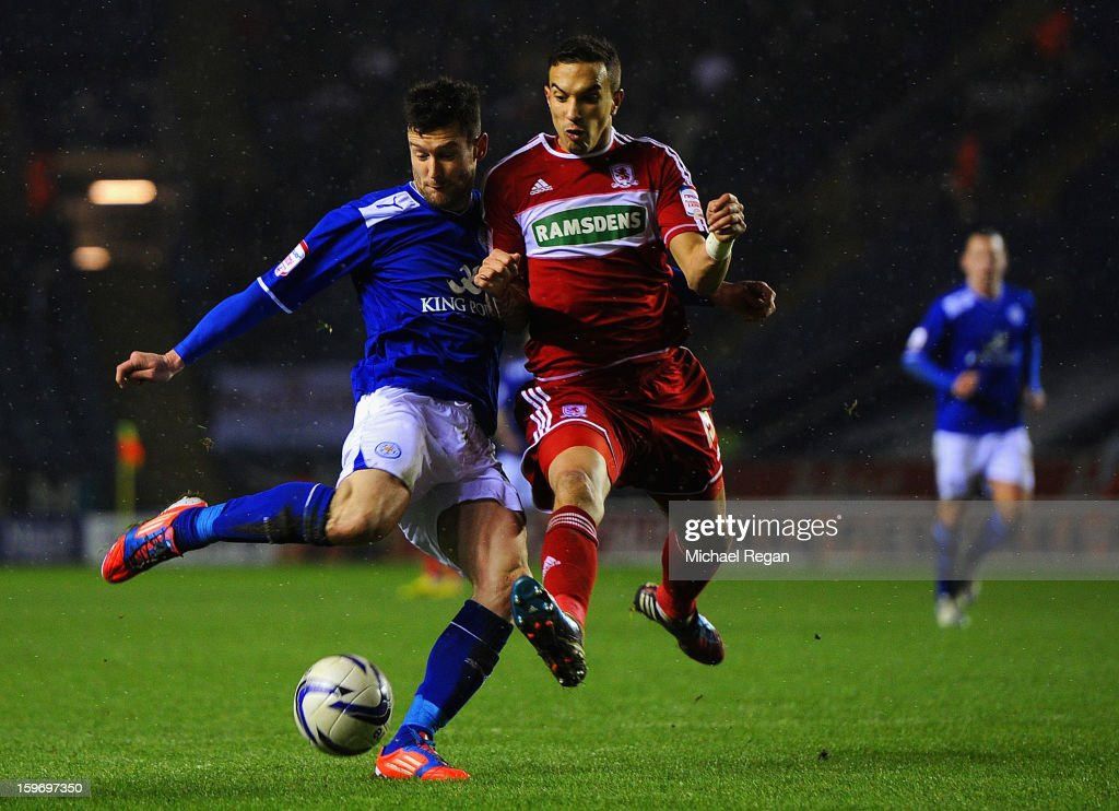 David Nugent of leicester scores to make it 1-0 during the Npower Championship between Leicester City and Middlesbrough at The King Power Stadium on January 18, 2013 in Leicester, England.