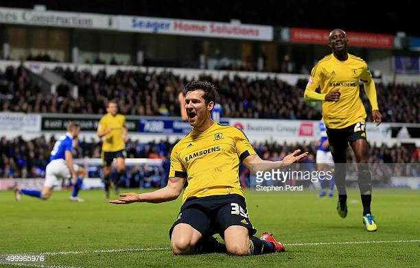 David Nugent of Middlesbrough celebrates scoring his teams second goal during the Sky Bet Championship match between Ipswich Town and Middlesbrough...