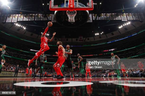 David Nwaba of the Chicago Bulls drives to the basket against the Boston Celtics on December 11 2017 at the United Center in Chicago Illinois NOTE TO...