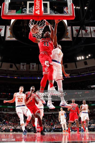 David Nwaba of the Chicago Bulls dunks the ball against the New York Knicks on December 9 2017 at the United Center in Chicago Illinois NOTE TO USER...