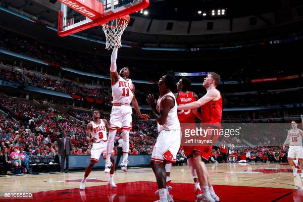David Nwaba of the Chicago Bulls goes to the basket against the Toronto Raptors on October 13 2017 at the United Center in Chicago Illinois NOTE TO...