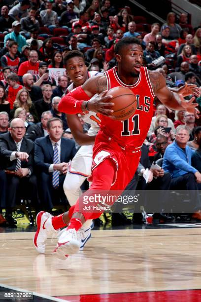 David Nwaba of the Chicago Bulls handles the ball against the New York Knicks on December 9 2017 at the United Center in Chicago Illinois NOTE TO...
