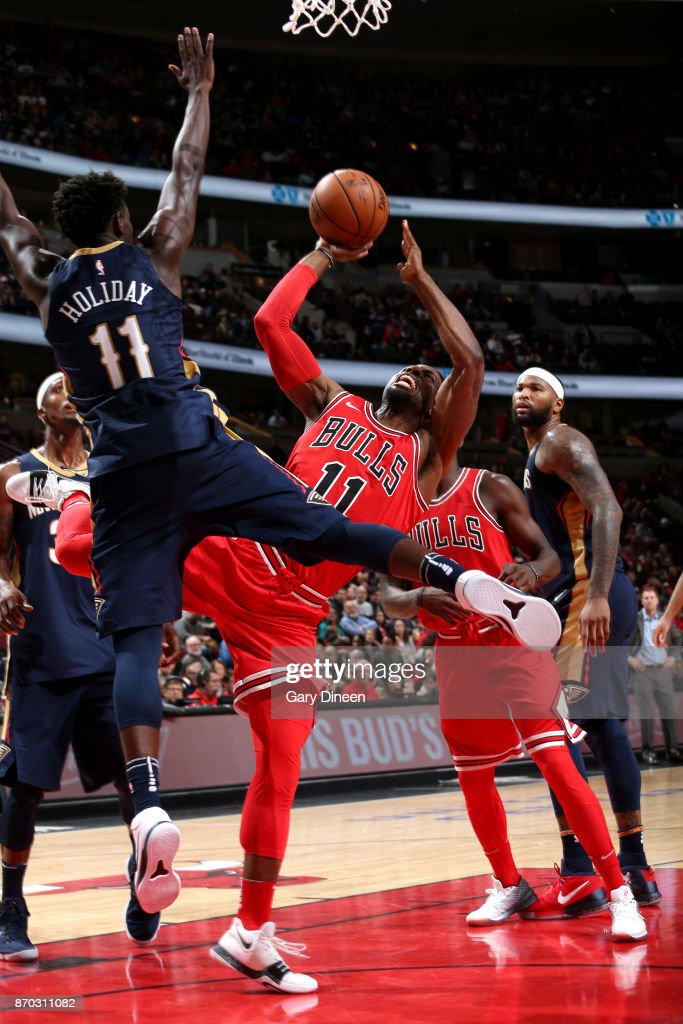 David Nwaba #11 of the Chicago Bulls shoots the ball against the New Orleans Pelicans on November 4, 2017 at the United Center in Chicago, Illinois.