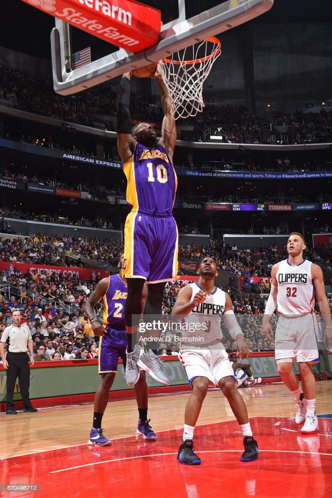David Nwaba #10 of the Los Angeles Lakers goes up for a dunk against the LA Clippers on April 1, 2017 at STAPLES Center in Los Angeles, California.