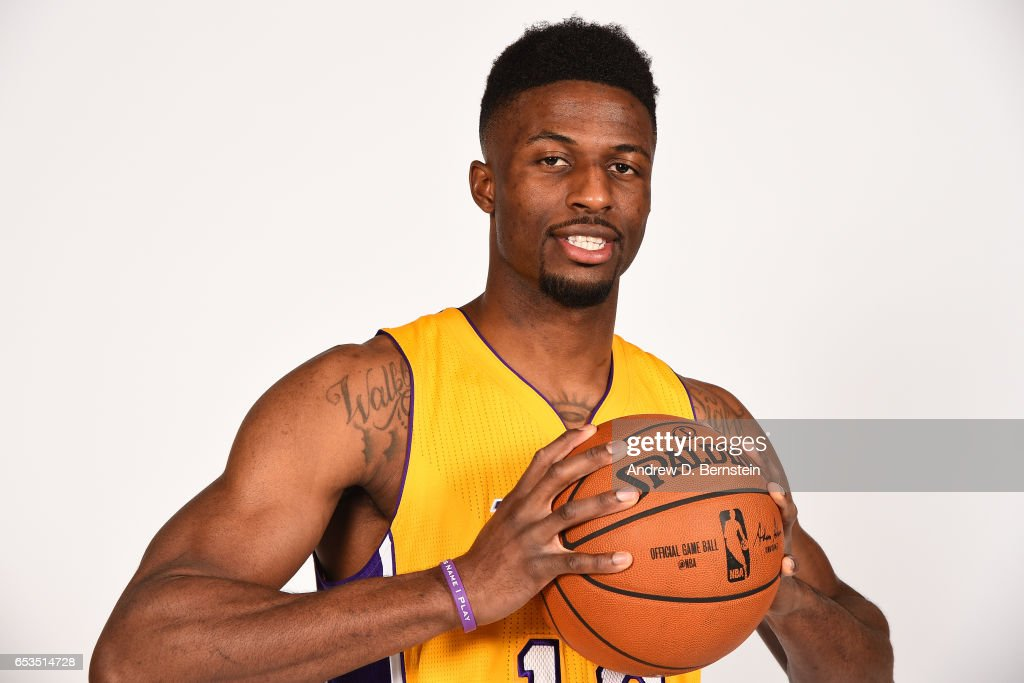David Nwaba #10 of the Los Angeles Lakers poses for portraits on March 12, 2017 at STAPLES Center in Los Angeles, California.