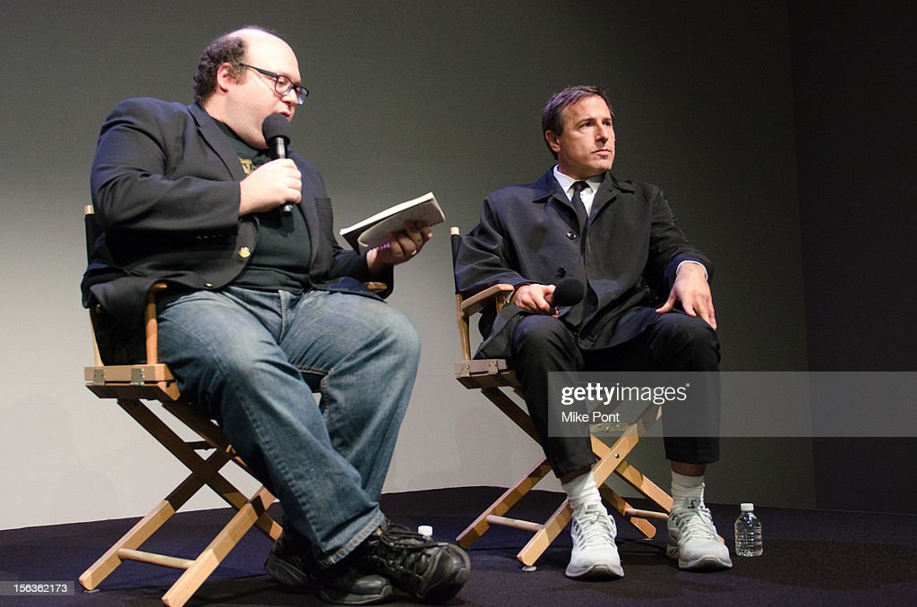 David O. Russell (R) attends Meet The Filmmaker: 'Silver Linings Playbook' at the Apple Store Soho on November 13, 2012 in New York City.