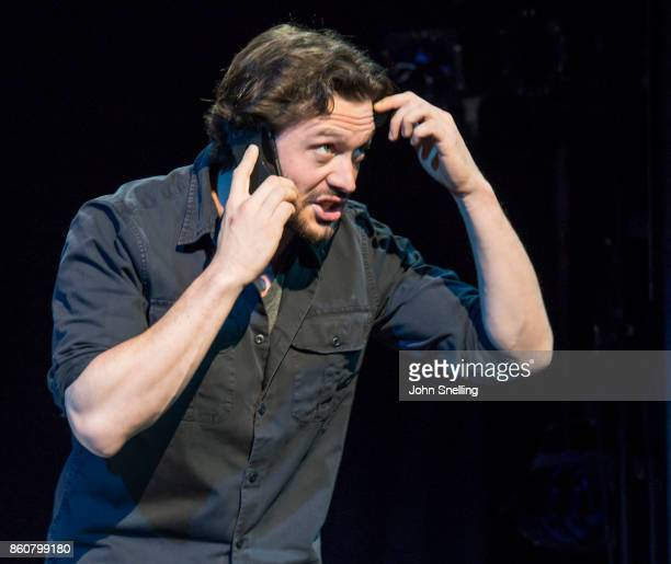 David Oakes as Thomas Novachek performs on stage during a performance of 'Venus In Fur' at Theatre Royal Haymarket on October 12 2017 in London...