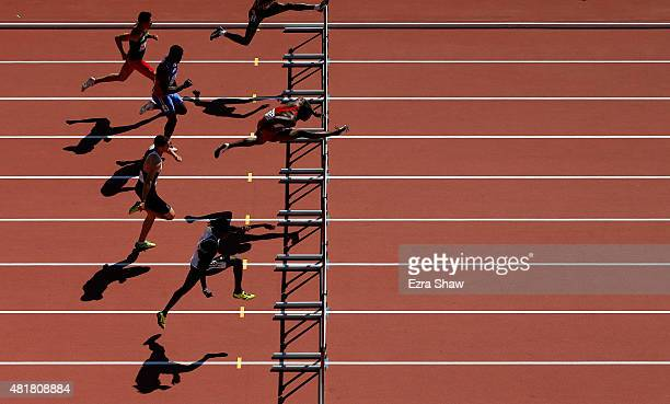 David Oliver of the United States leads the field in heat 3 of the 110 meter hurdles during Day 14 of the Toronto 2015 Pan Am Games on July 24 2015...