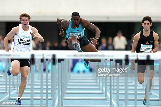 David Oliver of the United States leads the field in the Men's 110 metres hurdles open during the IAAF Melbourne World Challenge at Olympic Park on...