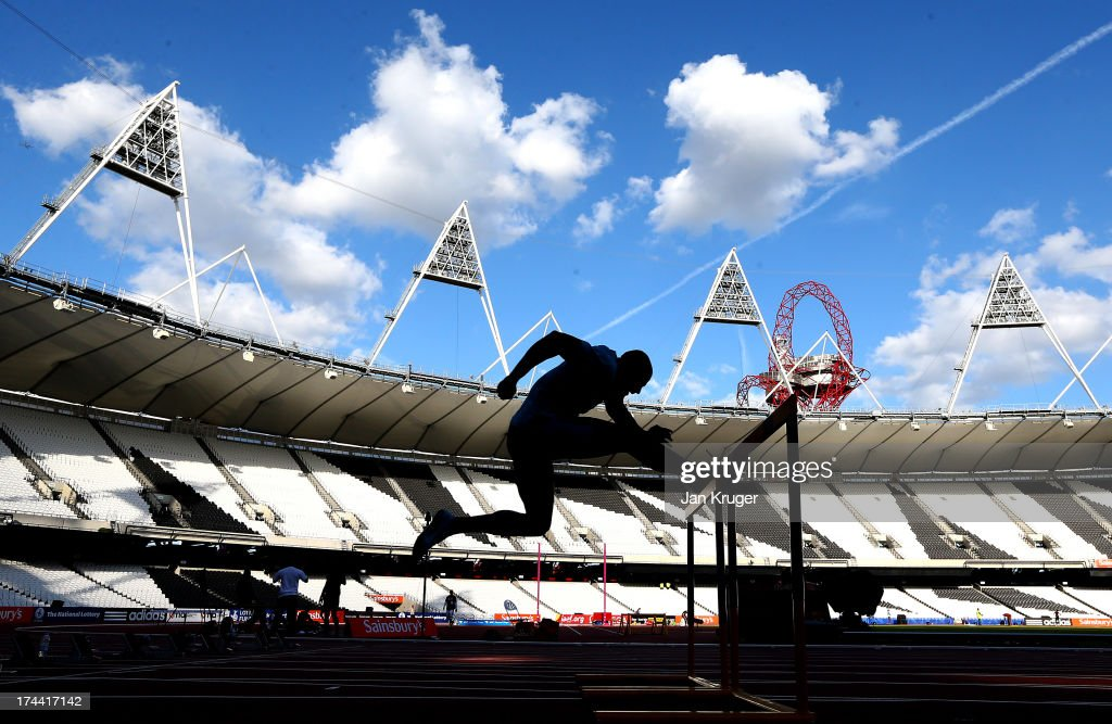 David Oliver of the USA takes part in training ahead of the Sainsbury's Anniversary Games - IAAF Diamond League at The Olympic Stadium on July 25, 2013 in London, England.