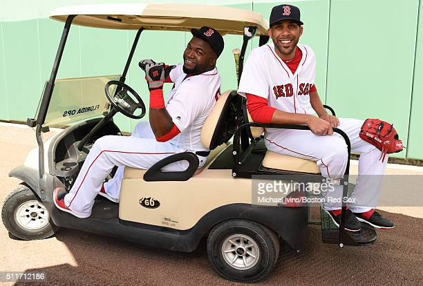 David Ortiz and David Price of the Boston Red Sox pose on February 22 2016 at Fenway South in Fort Myers Florida