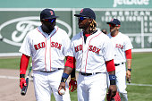David Ortiz and Hanley Ramirez of the Boston Red Sox look on before the game against the Miami Marlins at Jet Blue Park on March 6 2015 in Fort Myers...