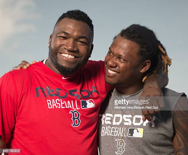 David Ortiz and Hanley Ramirez of the Boston Red Sox pose for a photograph at jetBlue Park in Fort Myers Florida on February 24 2015
