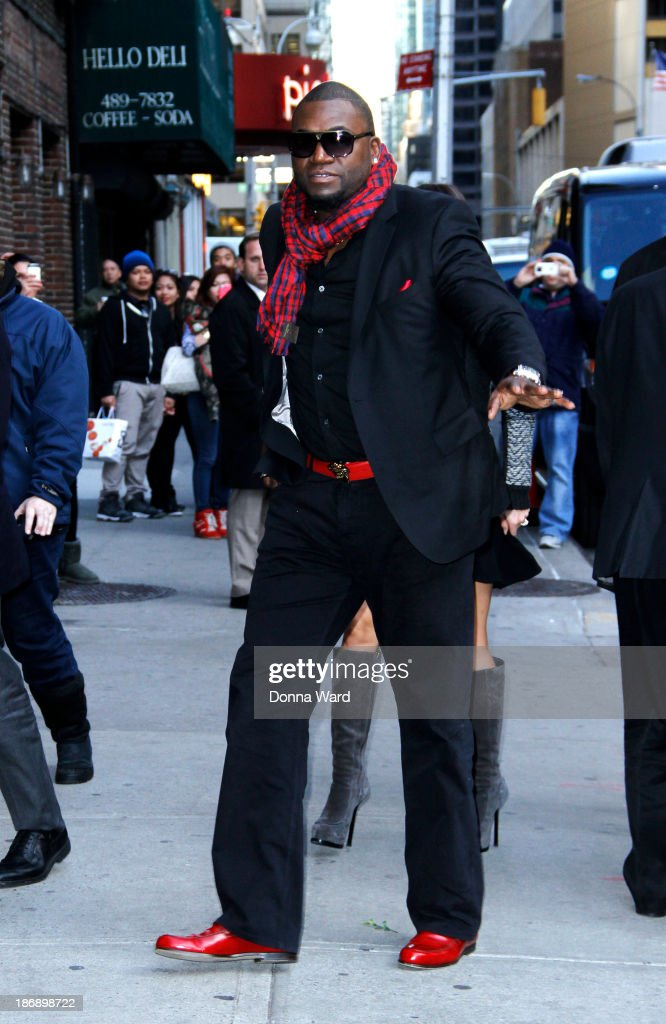 <a gi-track='captionPersonalityLinkClicked' href=/galleries/search?phrase=David+Ortiz&family=editorial&specificpeople=175825 ng-click='$event.stopPropagation()'>David Ortiz</a> arrives for the 'Late Show with David Letterman' at Ed Sullivan Theater on November 4, 2013 in New York City.