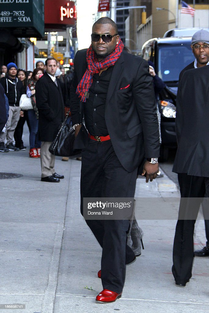 David Ortiz arrives for the 'Late Show with David Letterman' at Ed Sullivan Theater on November 4, 2013 in New York City.