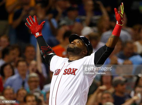 David Ortiz of the Boston Red Sox after a home run against the Baltimore Orioles during the sixth inning of the game at Fenway Park on June 24 2015...