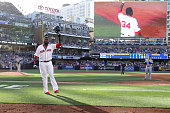 David Ortiz of the Boston Red Sox and the American League waves to the crowd after he is taken out of the game in the third inning during the 87th...