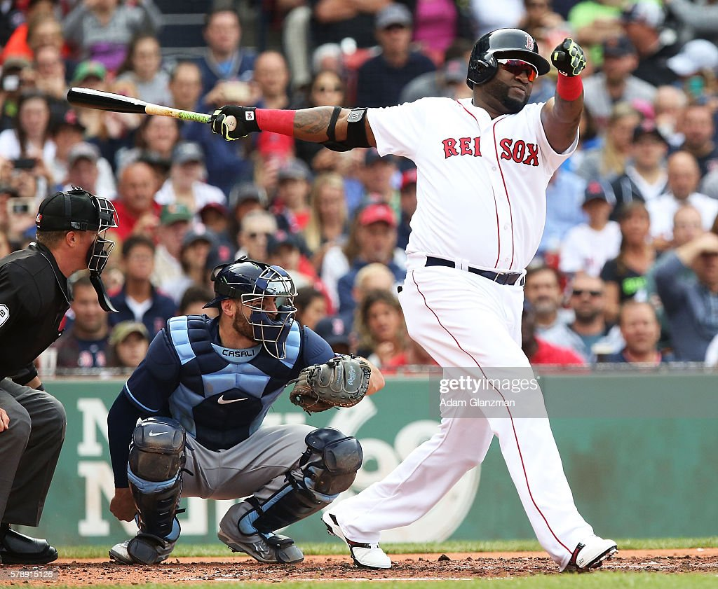 David Ortiz of the Boston Red Sox bats base during the game against the Tampa Bay Rays at Fenway Park on July 9 2016 in Boston Massachusetts