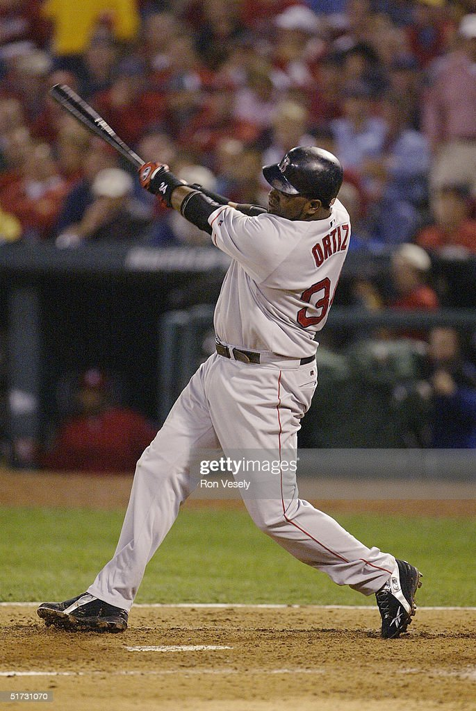 David Ortiz of the Boston Red Sox bats during game three of the 2004 World Series against the St. Louis Cardinals at Busch Stadium on October 26, 2004 in St. Louis, Missouri. The Red Sox defeated the Cardinals 4-1.