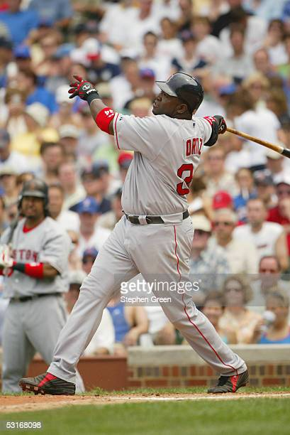 David Ortiz of the Boston Red Sox bats during the game against the Chicago Cubs at Wrigley Field on June 10 2005 in Chicago Illinois The Cubs...