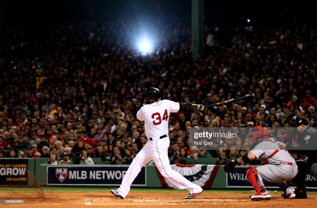 <a gi-track='captionPersonalityLinkClicked' href=/galleries/search?phrase=David+Ortiz&family=editorial&specificpeople=175825 ng-click='$event.stopPropagation()'>David Ortiz</a> #34 of the Boston Red Sox bats in the first inning against the St. Louis Cardinals in the first inning of Game One of the 2013 World Series at Fenway Park on October 23, 2013 in Boston, Massachusetts.