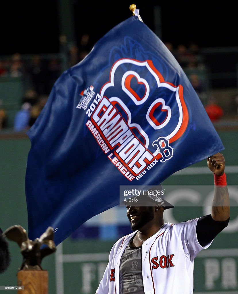 <a gi-track='captionPersonalityLinkClicked' href=/galleries/search?phrase=David+Ortiz&family=editorial&specificpeople=175825 ng-click='$event.stopPropagation()'>David Ortiz</a> #34 of the Boston Red Sox celebrates after defeating the Detroit Tigers in Game Six of the American League Championship Series at Fenway Park on October 19, 2013 in Boston, Massachusetts. The Red Sox defeated the Tigers 5-2 to clinch the ALCS in six games.