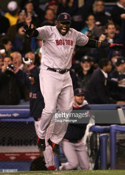David Ortiz of the Boston Red Sox celebrates after defeating the New York Yankees 103 in game seven of the American League Championship Series on...