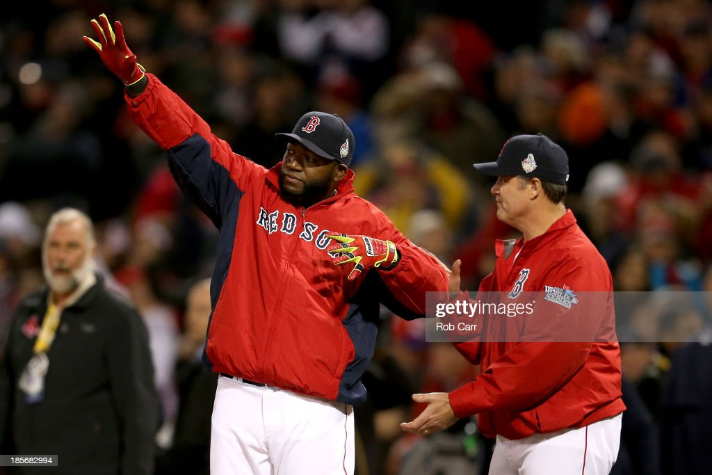<a gi-track='captionPersonalityLinkClicked' href=/galleries/search?phrase=David+Ortiz&family=editorial&specificpeople=175825 ng-click='$event.stopPropagation()'>David Ortiz</a> #34 of the Boston Red Sox celebrates after defeating the St. Louis Cardinals 8-1 in Game One of the 2013 World Series at Fenway Park on October 23, 2013 in Boston, Massachusetts.