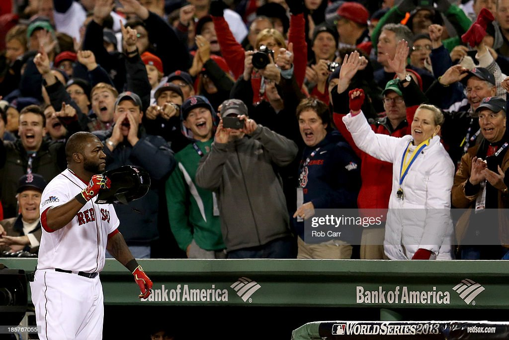 <a gi-track='captionPersonalityLinkClicked' href=/galleries/search?phrase=David+Ortiz&family=editorial&specificpeople=175825 ng-click='$event.stopPropagation()'>David Ortiz</a> #34 of the Boston Red Sox celebrates after hitting a two run home run in the sixth inning against the St. Louis Cardinals during Game Two of the 2013 World Series at Fenway Park on October 24, 2013 in Boston, Massachusetts.
