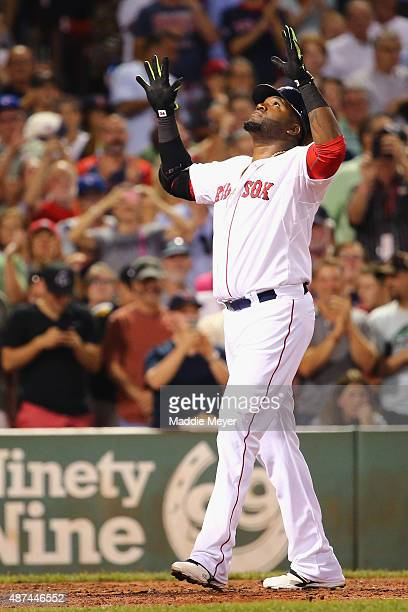 David Ortiz of the Boston Red Sox celebrates after hitting his 498th career home run during the third inning against the Toronto Blue Jays at Fenway...