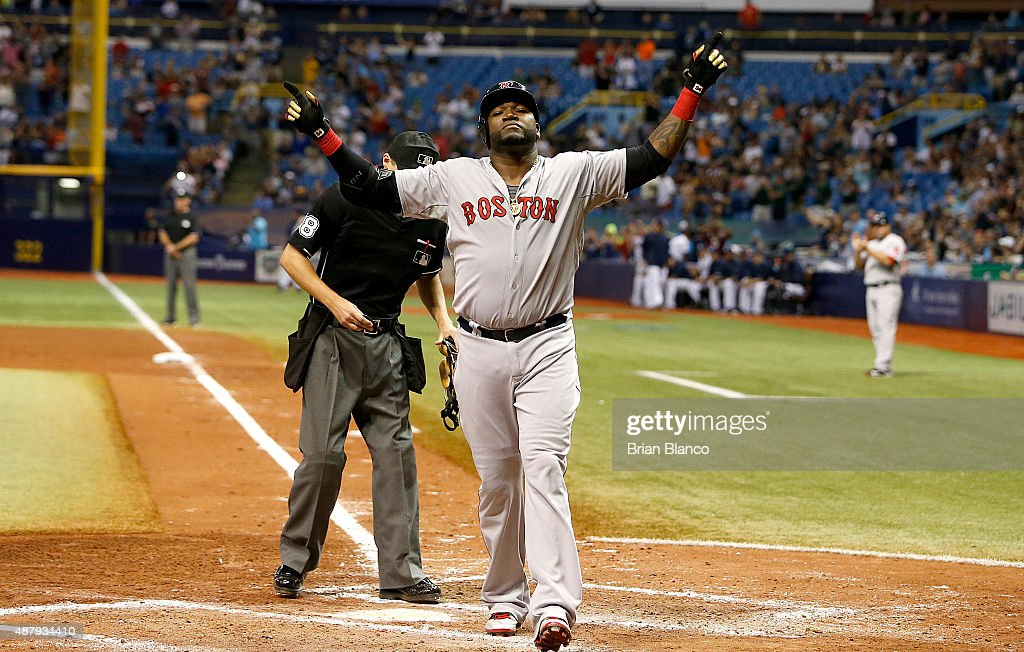 David Ortiz #34 of the Boston Red Sox celebrates after hitting his 500th career MLB home run off of pitcher Matt Moore #55 of the Tampa Bay Rays during the fifth inning of a game on September 12, 2015 at Tropicana Field in St. Petersburg, Florida.