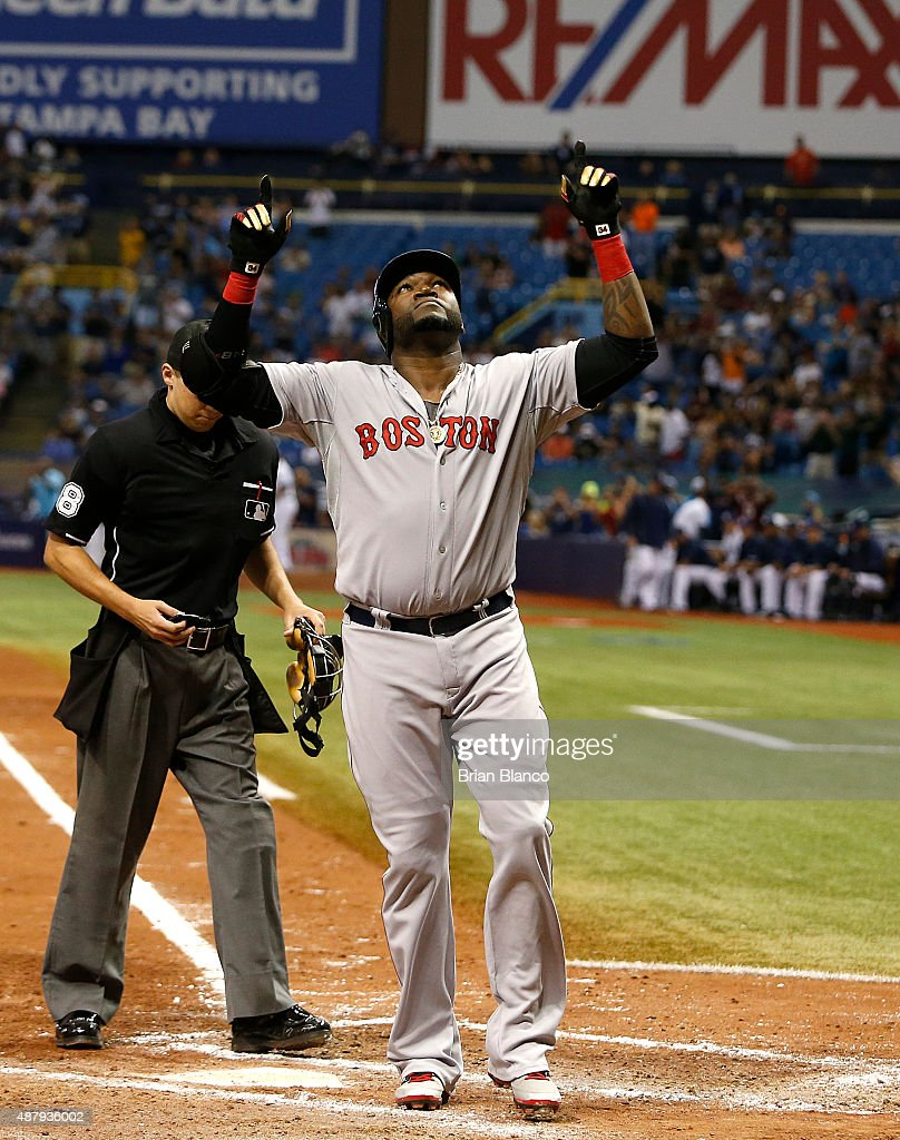 <a gi-track='captionPersonalityLinkClicked' href=/galleries/search?phrase=David+Ortiz&family=editorial&specificpeople=175825 ng-click='$event.stopPropagation()'>David Ortiz</a> #34 of the Boston Red Sox celebrates after hitting his 500th career MLB home run off of pitcher Matt Moore #55 of the Tampa Bay Rays during the fifth inning of a game on September 12, 2015 at Tropicana Field in St. Petersburg, Florida.