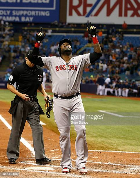 David Ortiz of the Boston Red Sox celebrates after hitting his 500th career MLB home run off of pitcher Matt Moore of the Tampa Bay Rays during the...