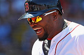 David Ortiz of the Boston Red Sox celebrates after scoring a run against the Texas Rangers during the third inning at Fenway Park on July 4 2016 in...