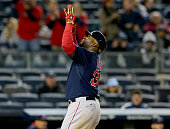 David Ortiz of the Boston Red Sox celebrates his solo home run in the 16th inning against the New York Yankees on April 10 2015 at Yankee Stadium in...