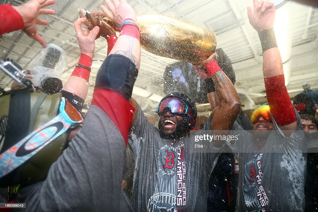 <a gi-track='captionPersonalityLinkClicked' href=/galleries/search?phrase=David+Ortiz&family=editorial&specificpeople=175825 ng-click='$event.stopPropagation()'>David Ortiz</a> #34 of the Boston Red Sox celebrates in the locker room after defeating the St. Louis Cardinals 6-1 in Game Six of the 2013 World Series at Fenway Park on October 30, 2013 in Boston, Massachusetts.