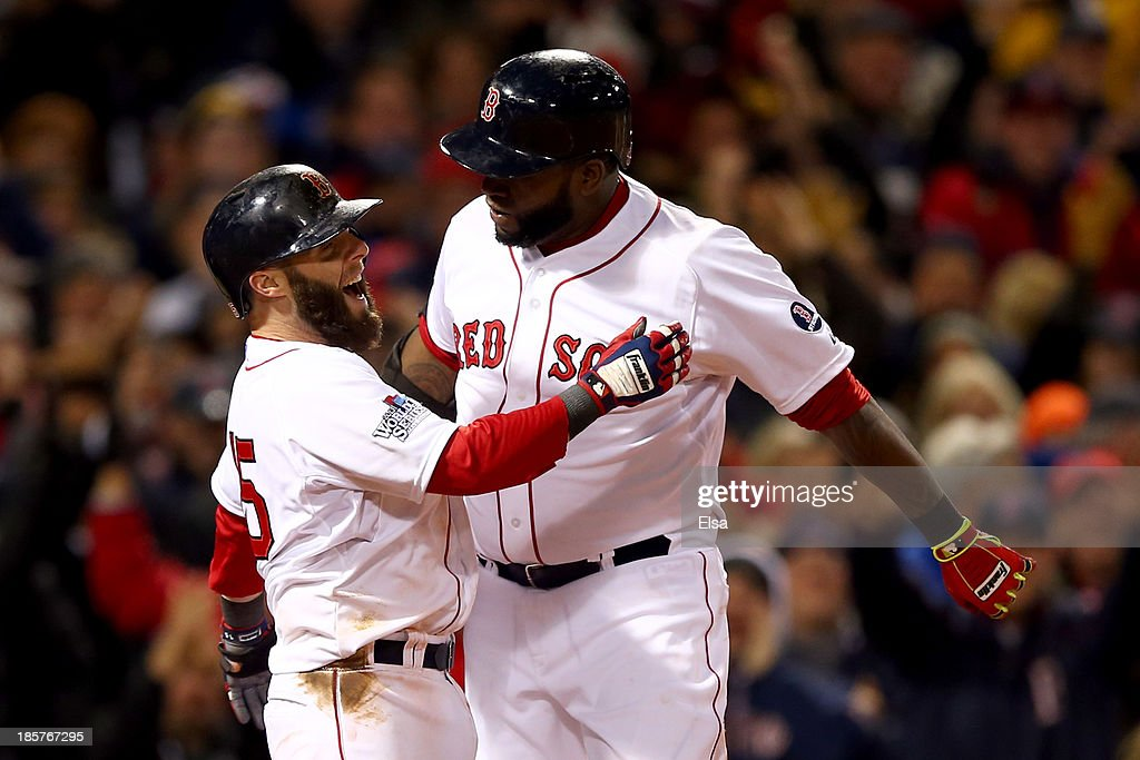 <a gi-track='captionPersonalityLinkClicked' href=/galleries/search?phrase=David+Ortiz&family=editorial&specificpeople=175825 ng-click='$event.stopPropagation()'>David Ortiz</a> #34 of the Boston Red Sox celebrates with <a gi-track='captionPersonalityLinkClicked' href=/galleries/search?phrase=Dustin+Pedroia&family=editorial&specificpeople=836339 ng-click='$event.stopPropagation()'>Dustin Pedroia</a> #15 after hitting a two run home run in the sixth inning against the St. Louis Cardinals during Game Two of the 2013 World Series at Fenway Park on October 24, 2013 in Boston, Massachusetts.