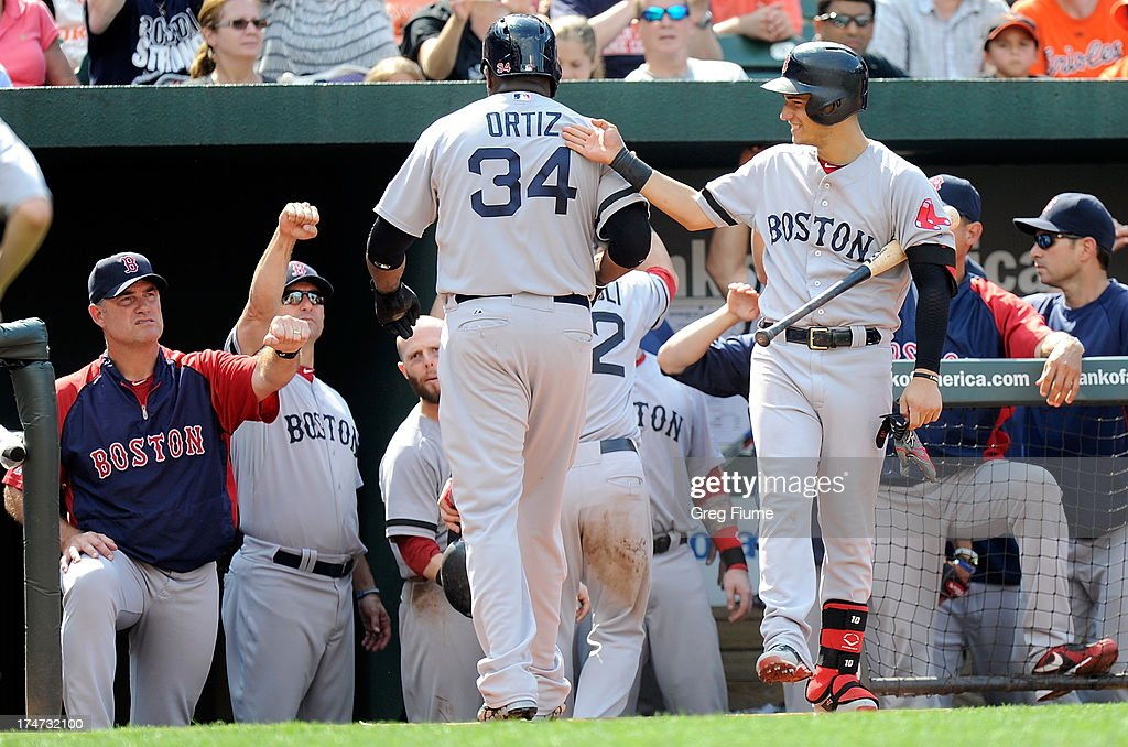 <a gi-track='captionPersonalityLinkClicked' href=/galleries/search?phrase=David+Ortiz&family=editorial&specificpeople=175825 ng-click='$event.stopPropagation()'>David Ortiz</a> #34 of the Boston Red Sox celebrates with Jose Iglesias #10 and manager John Farrell #53 after scoring in the eighth inning against the Baltimore Orioles at Oriole Park at Camden Yards on July 28, 2013 in Baltimore, Maryland.